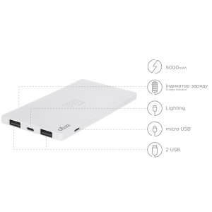Power bank ERGO LP-91, 5000 mAh White