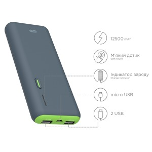 Power bank ERGO LI-S86, 12500 mAh Rubber Grey