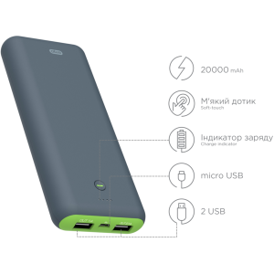 Power bank ERGO LI-S90, 20000 mAh Li-ion Rubber Grey