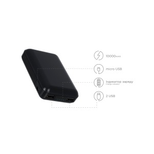 Power bank ERGO LP-С21 - 10000 mAh Li-pol Black